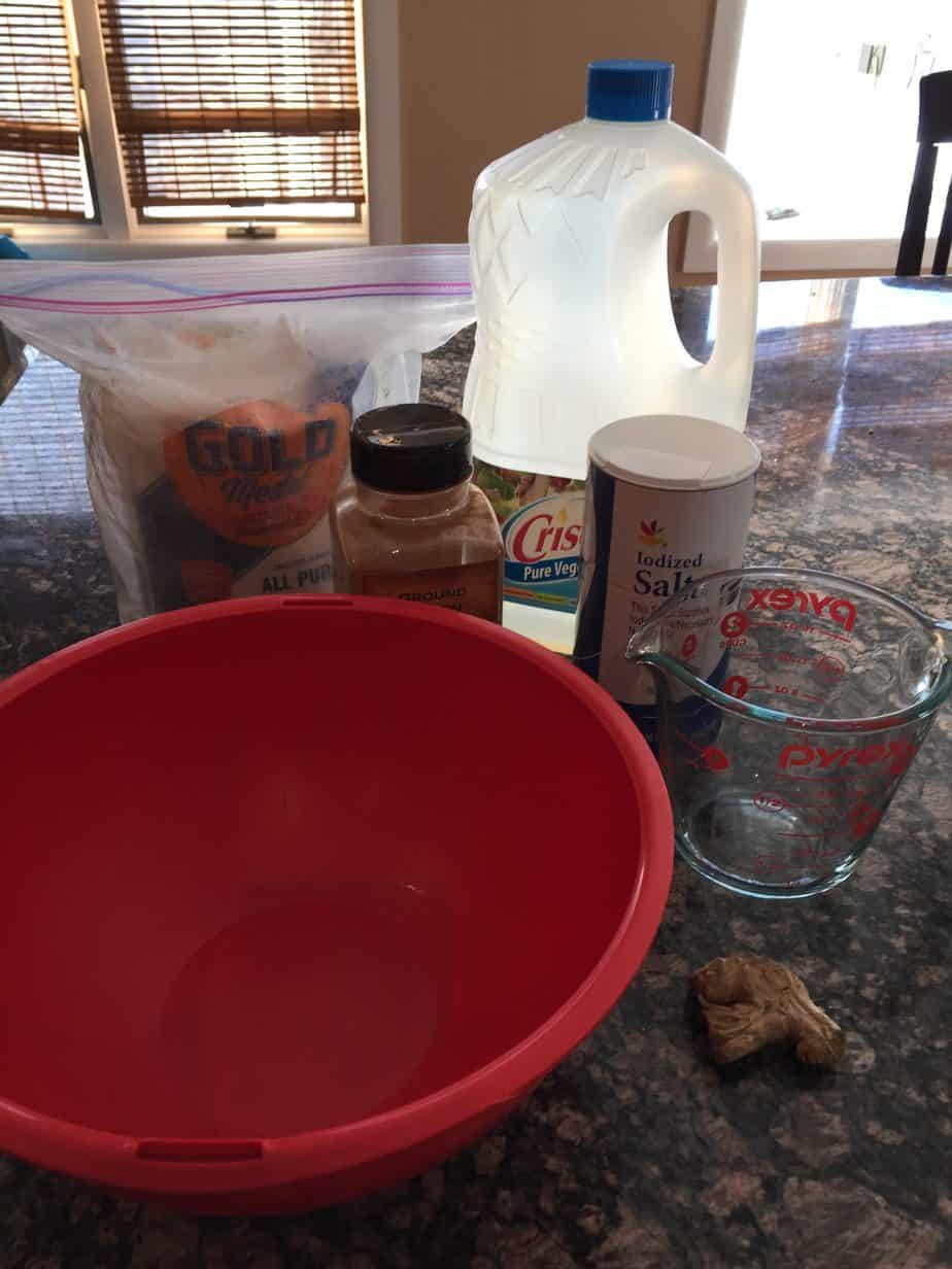 Ingredients to make gingerbread play dough