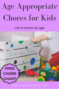 Purple banner of child cleaning up their toys to show Age Appropriate Chores for Kids