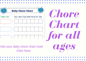 Daily Chore Chart to help kids do age appropriate chores