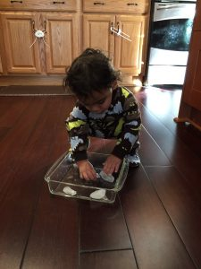Child playing with ice cubes in a tray is a fun way to build fine motor skills in toddlers