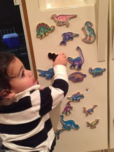 Child taking dinosaur magnets off the fridge is an at home way to build fine motor skills in toddlers