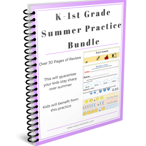 K-1st grade summer practice-book -Prevent the Summer Slide with these review pages.