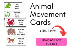 Animal movement cards for toddler movement activities