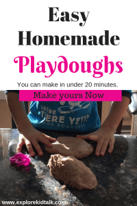 Easy Recipes to Make dough and Clay in under 20 minutes. Make dough with young children.