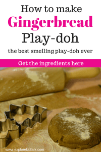 How to make gingerbread play-doh banner with gingerbread play dough and cookie cutters.
