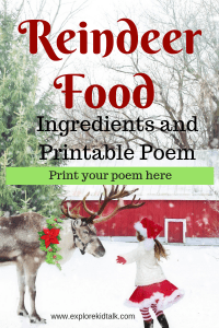 Reindeer Food ingredients and poem. Your kids will have a great time making and putting out reindeer food on Christmas Eve.