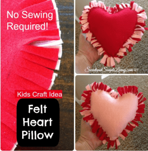 Heart pillow Valentine craft for kids