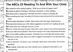 Written poem of the acb's of reading to and with your child.