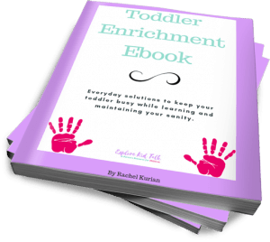 Purple and white cover of a Toddler Enrichment Ebook to help understand how much your toddler should be talking