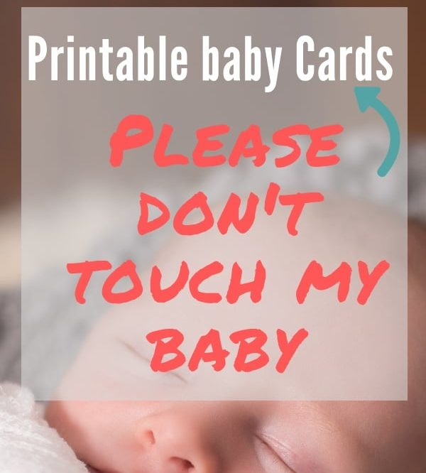 Sleeping baby. Printable Baby cards asking not to touch my baby