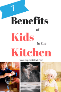 7 Benefits of kids in the kitchen. A boy cracking an egg, a baby with a chefs hat and shaking off flour.