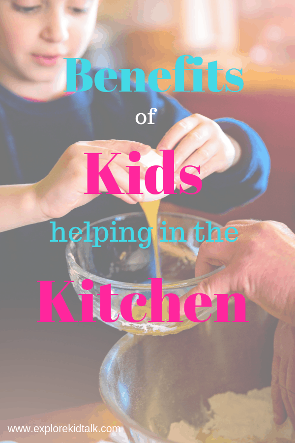 A child cracking a egg and helping in the kitchen. The benefits of cooking in early childhood