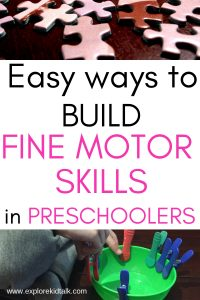 Picture of a puzzles and clothes pins for easy activities to build fine motor skills in preschoolers