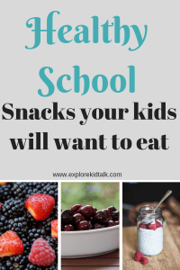 Picture grouping of fruits, jam and grapes are all healthy school snacks.