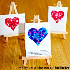 Easy heart canvas to use for Valentines crafts for kids