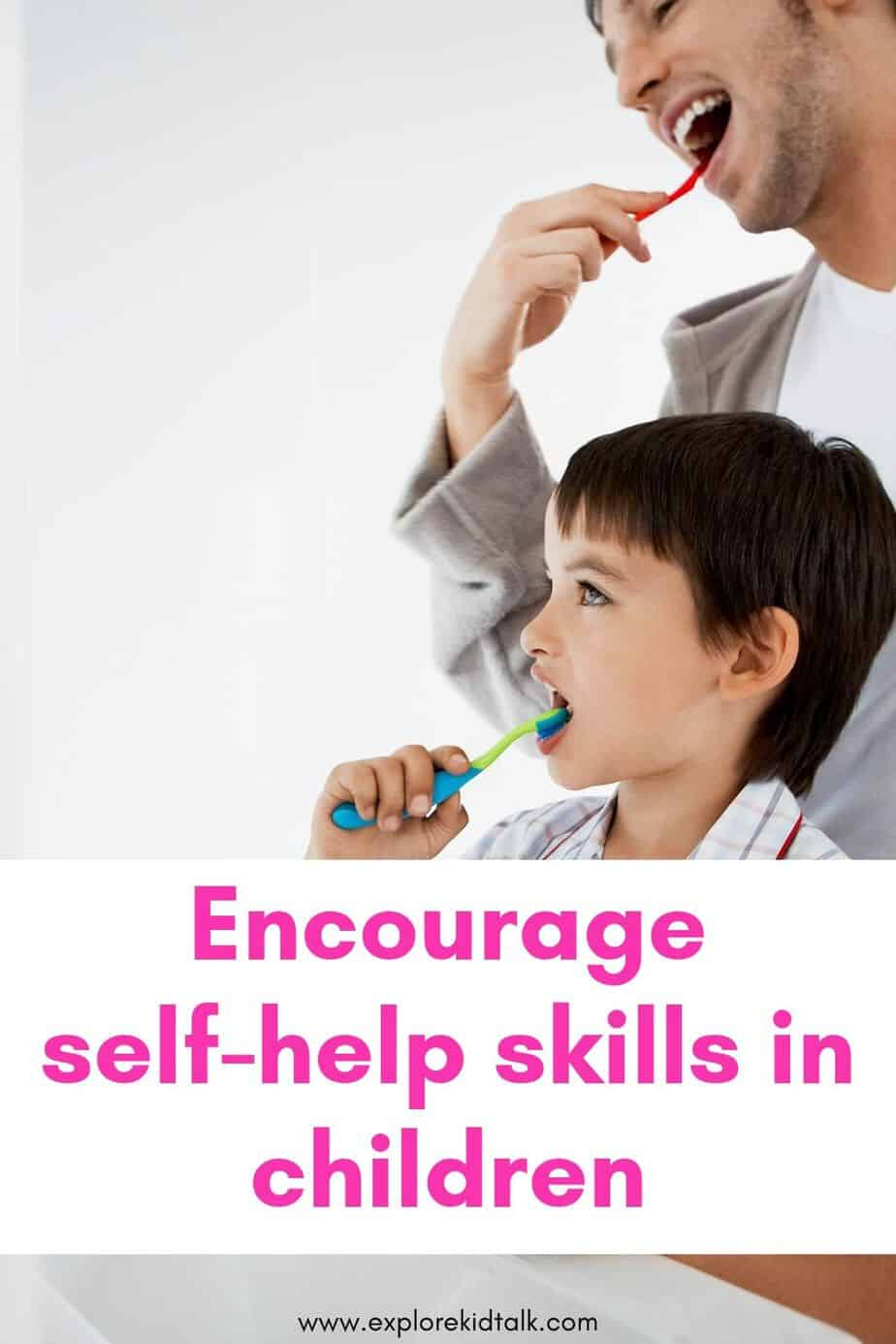 Child and Dad brushing teeth. Teaching self-help skills