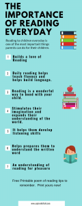 List of reasons why reading is important everyday. The benefits of reading with your child.