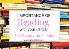 Pile of books with words saying Importance of reading with your child