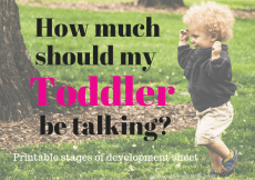 How much should my toddler be talking? Get a printable stages of development sheet.